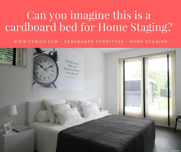 CUBIQZ cardboard furniture for Home Staging:  Slaapkamer door CUBIQZ Clever Cardboard Creations