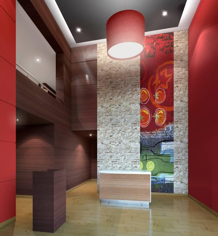 PIZZA HUT ESPINAR: Salas / recibidores de estilo  por ARKILINEA