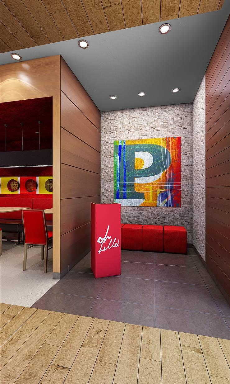 PIZZA HUT JOCKEY PLAZA: Salas / recibidores de estilo  por ARKILINEA