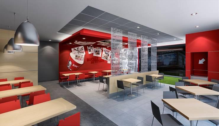 KFC NARANJAL: Espacios comerciales de estilo  por ARKILINEA,