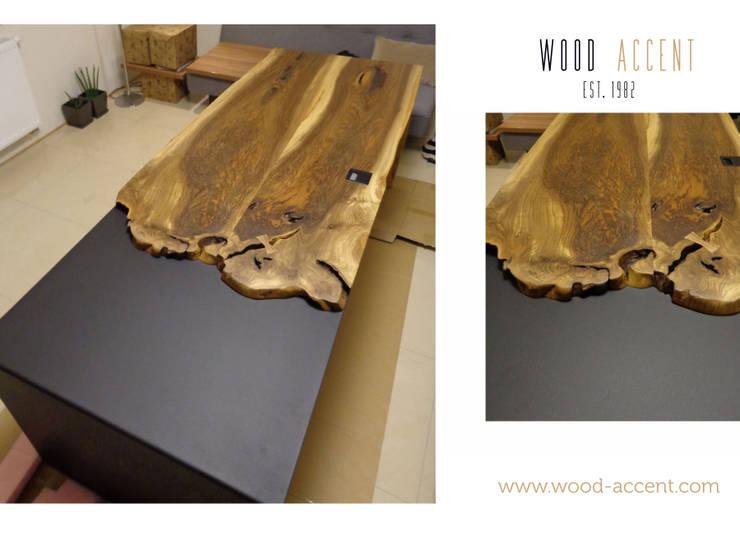 UNIKATOWY STÓŁ Z ORZECHA EUROPEJSKIEGO : styl , w kategorii  zaprojektowany przez WOOD ACCENT,Nowoczesny Drewno O efekcie drewna