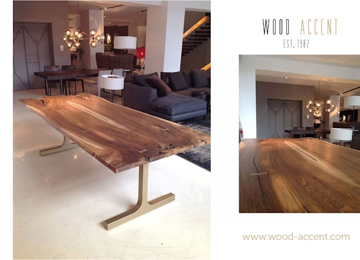 STÓŁ JADALNIANY Z ORZECHA EUROPEJSKIEGO : styl , w kategorii  zaprojektowany przez WOOD ACCENT,Minimalistyczny Drewno O efekcie drewna
