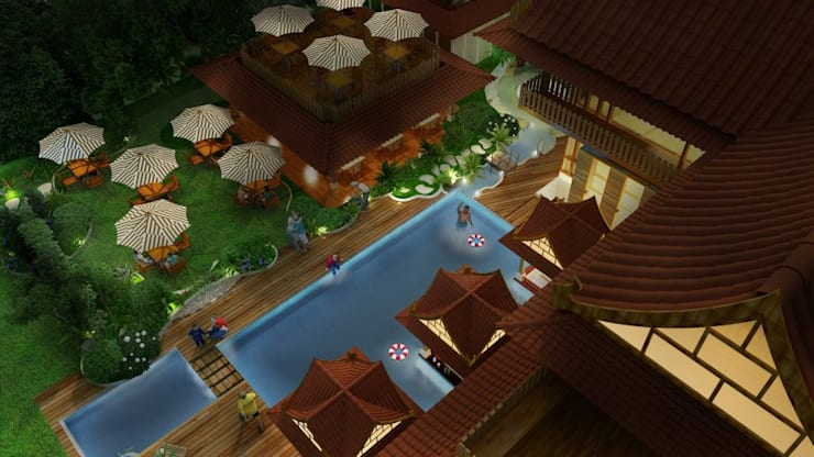 residential colony : asian Spa by Vinyaasa Architecture & Design