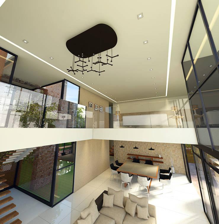 Vista del mesanine - tapanco: Salas de estilo  por RecreARQ Construcciones