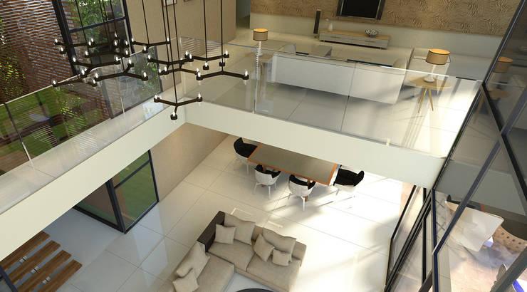 Vista de la sala de tv y sala a doble altura, balcon.: Salas de estilo  por RecreARQ Construcciones