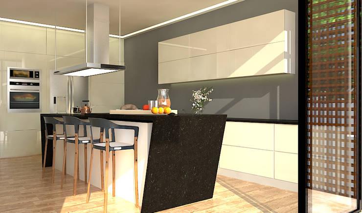 Cocina de cuarzo y MDF laminado: Cocinas de estilo  por RecreARQ Construcciones