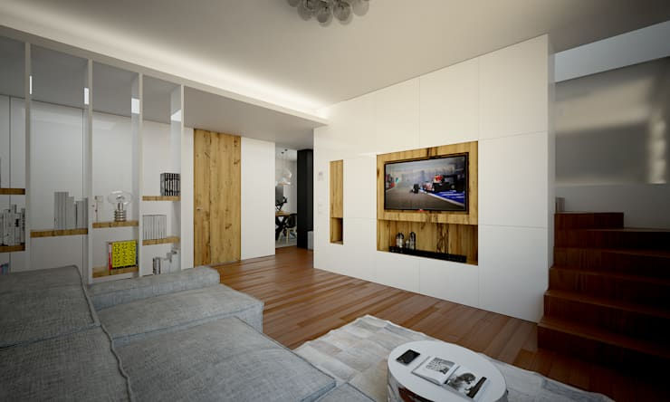 Render foto-realistico zona tv:  in stile  di QUADRASTUDIO