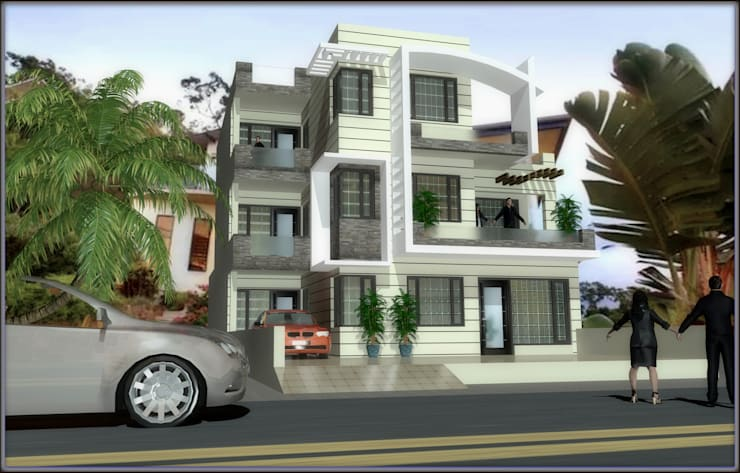 residence with simple and modern features:  Houses by Ar. Sukhpreet K Channi