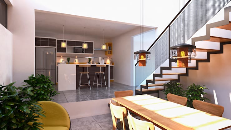 Interiores Comedor- Cocina: Comedores de estilo  por Laboratorio Mexicano de Arquitectura