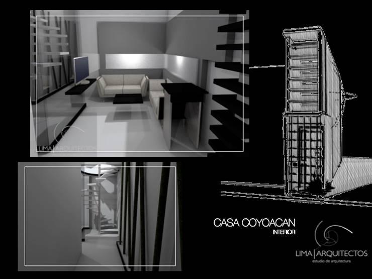 CASA COYOACAN: Salas de estilo  por Lima Arquitectos