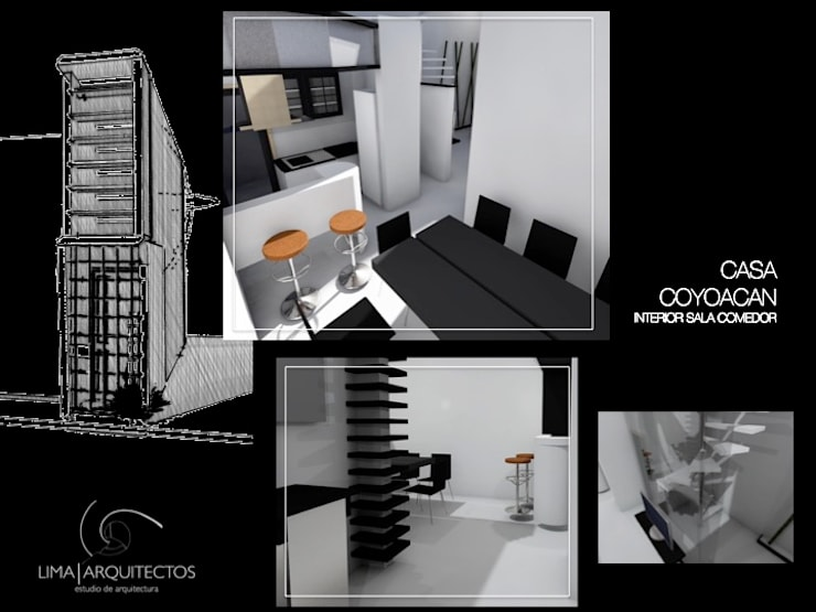 CASA COYOACAN: Comedor de estilo  por Lima Arquitectos