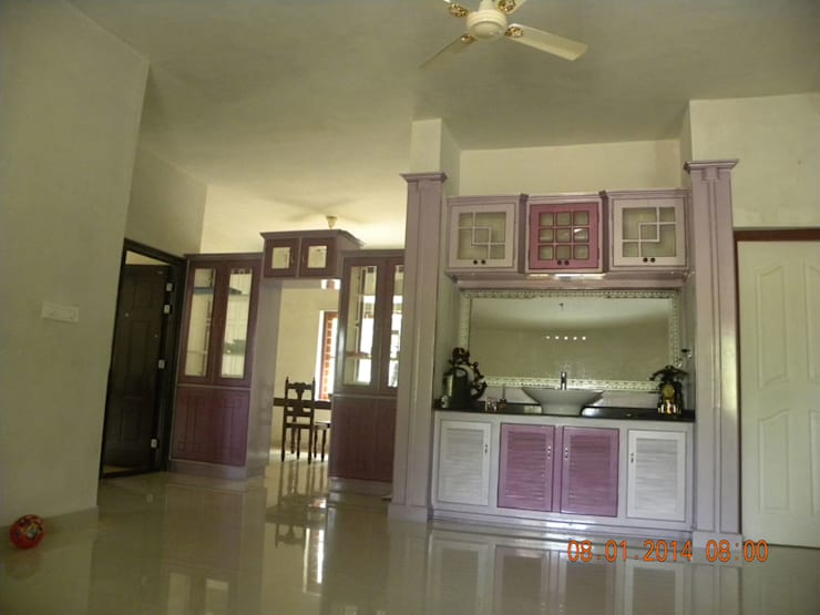 Our Interior Design Works:  Living room by Aishwarya Developers ,Asian Stone