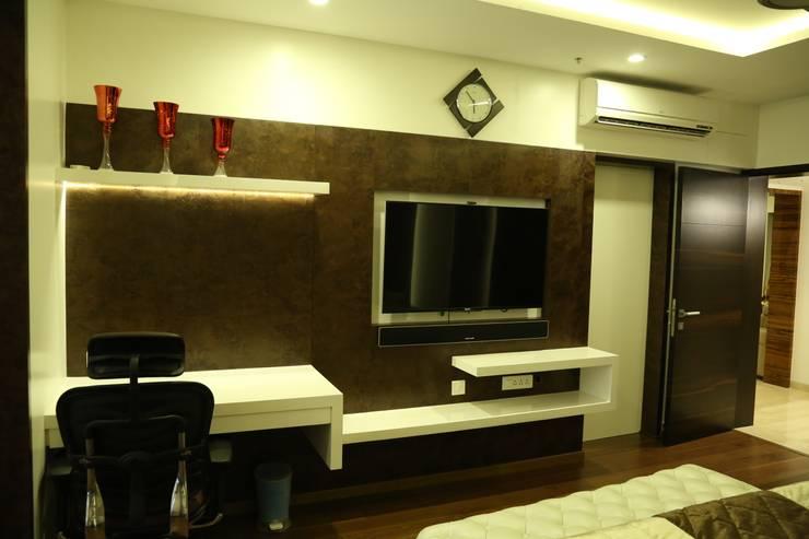 Apartment interiors at Sattva Luxuria:  Bedroom by Studio Stimulus