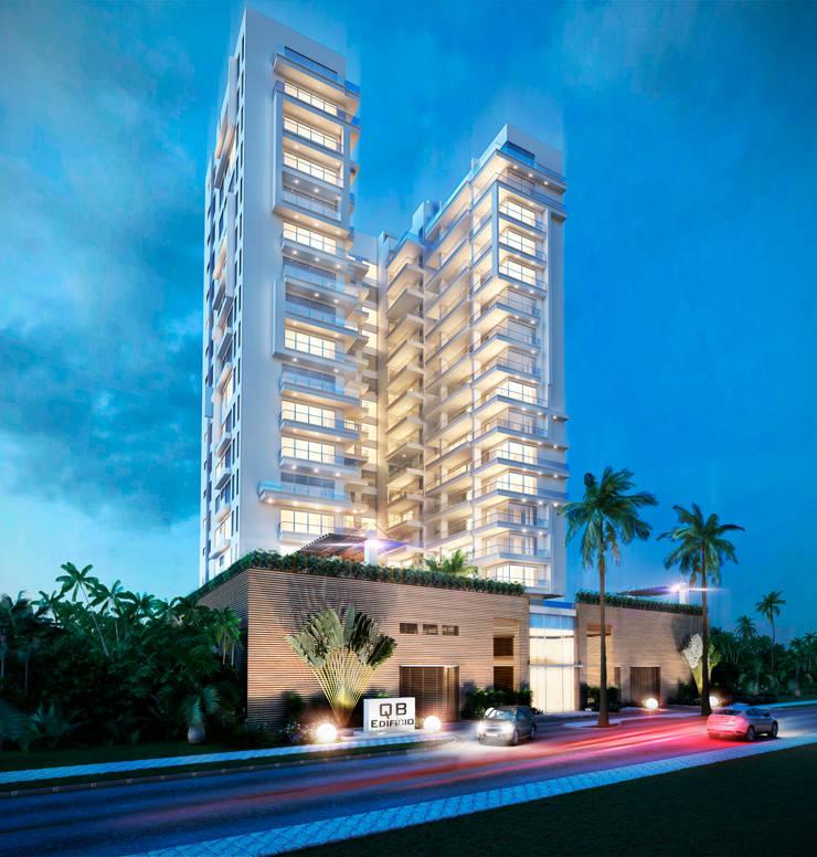 Edificio QB Fachada nocturna:  de estilo  por AV arquitectos, Moderno