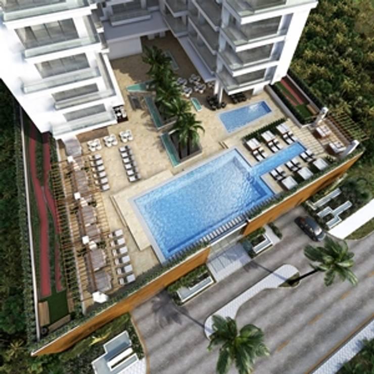 Zona común Edificio QB:  de estilo  por AV arquitectos, Moderno