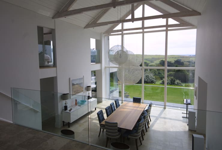 REPLACEMENT DWELLING, CORNWALL: modern Dining room by Arco2 Architecture Ltd