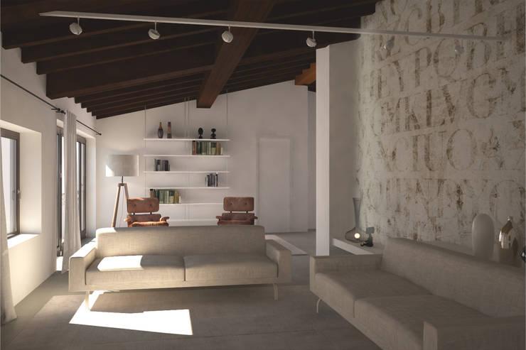 Visualizzazione 3D - soggiorno: Soggiorno in stile  di Silvana Barbato, StudioAtelier