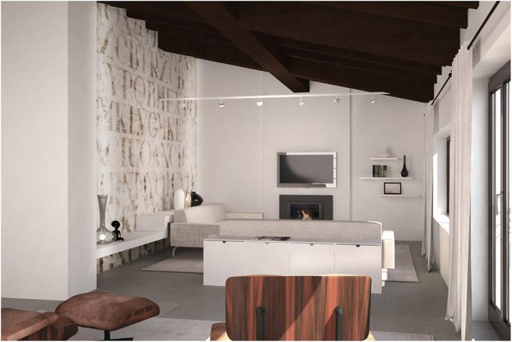Visualizzazione 3D - soggiorno, differenti opzioni: Soggiorno in stile  di Silvana Barbato, StudioAtelier