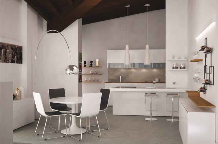 Visualizzazione 3D - cucina (opzione1): Cucina in stile  di Silvana Barbato, StudioAtelier