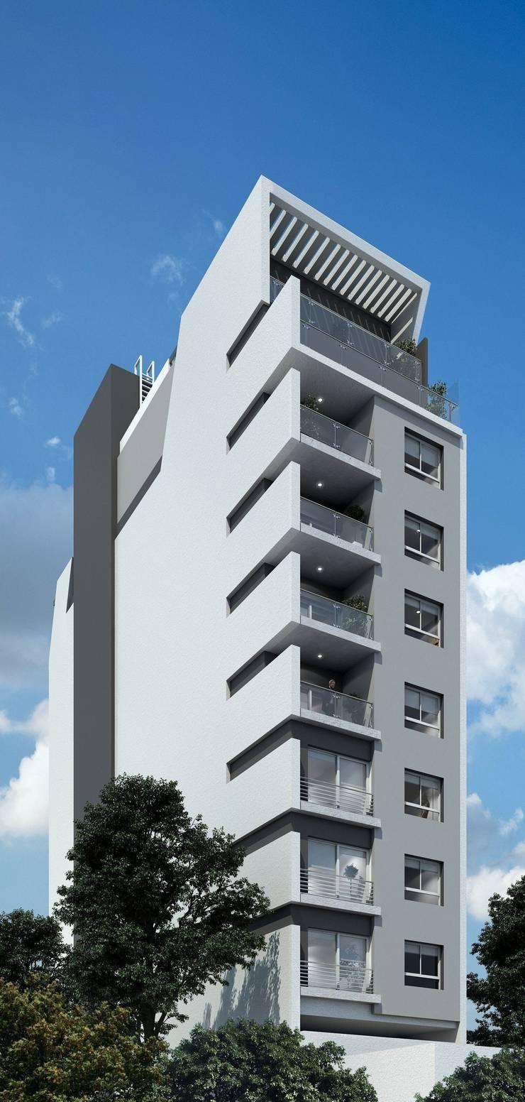 Contra Fachada:  de estilo  por Arcadia Arquitectura