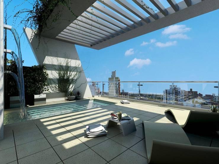 Amenites (Solarium - Pileta):  de estilo  por Arcadia Arquitectura