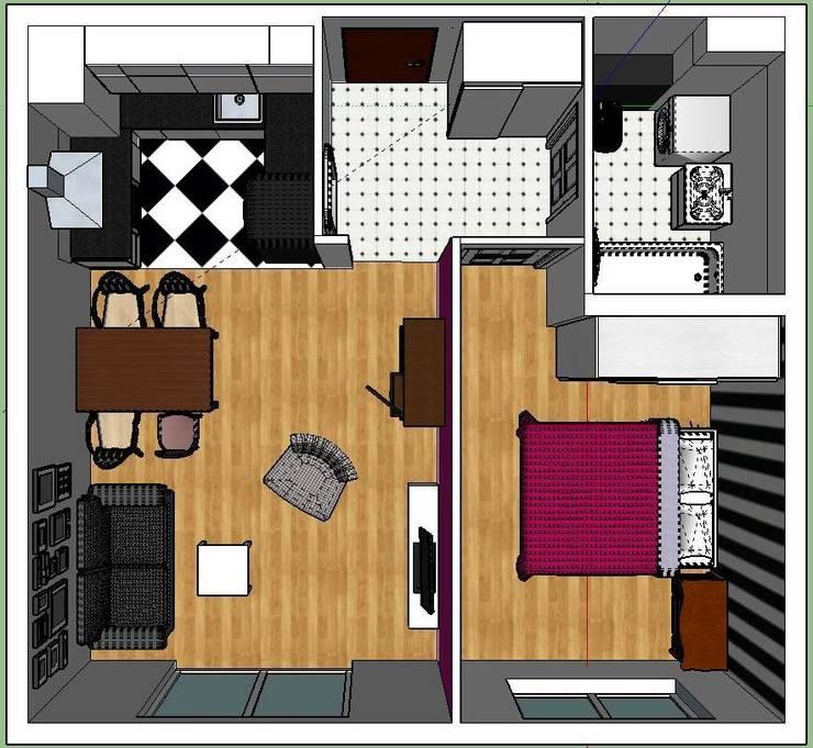 rzut z góry.: styl , w kategorii Ściany zaprojektowany przez nklim.design