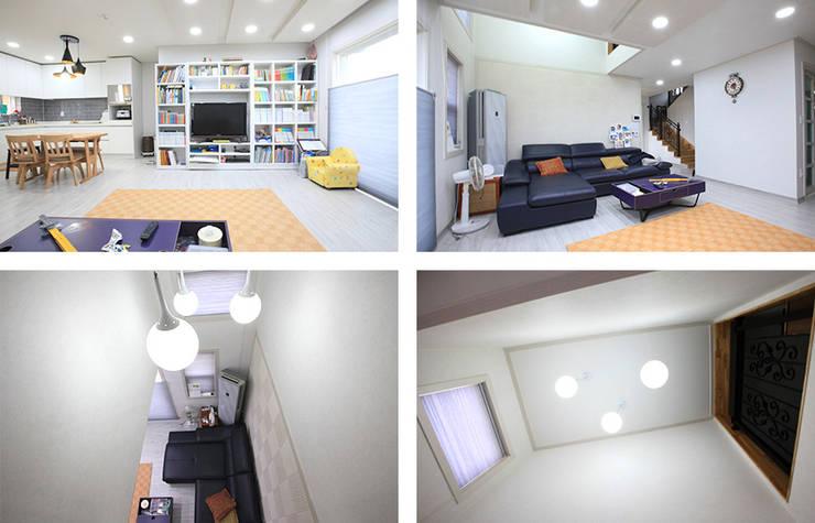 실용적인 아이디어가 돋보이는 모던스타일 전원주택[충남 천안]: 지성하우징의  거실,모던