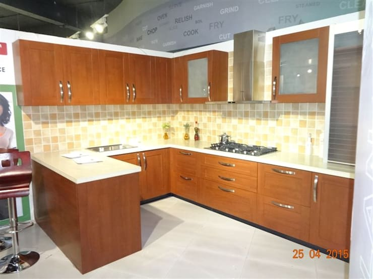 c shape modular kitchen : mediterranean Kitchen by aashita modular kitchen