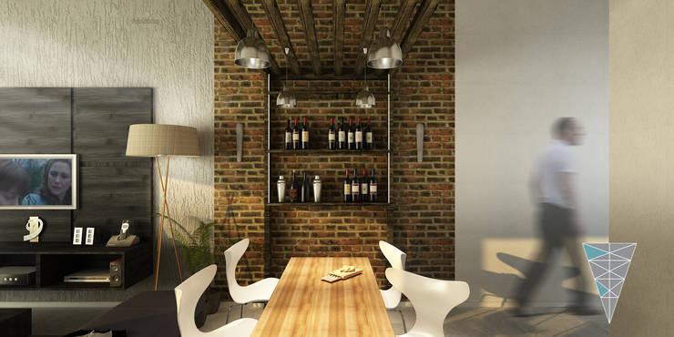 vivienda Pro.Cre.Ar modelo <q>America 2 dormitorios</q> (Modificada): Comedores de estilo  por JUNE arquitectos,