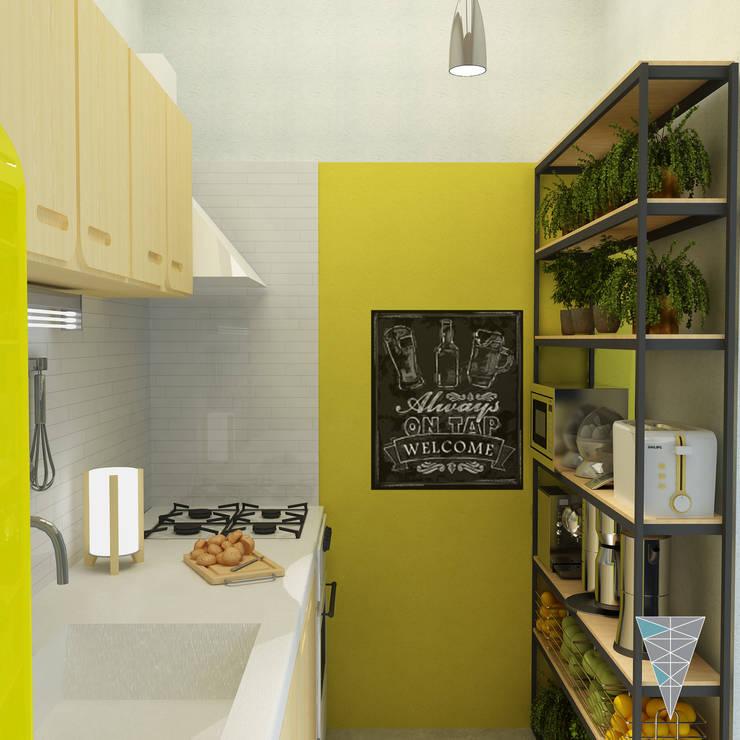 vivienda Pro.Cre.Ar modelo <q>America 2 dormitorios</q> (Modificada): Cocinas de estilo  por JUNE arquitectos,