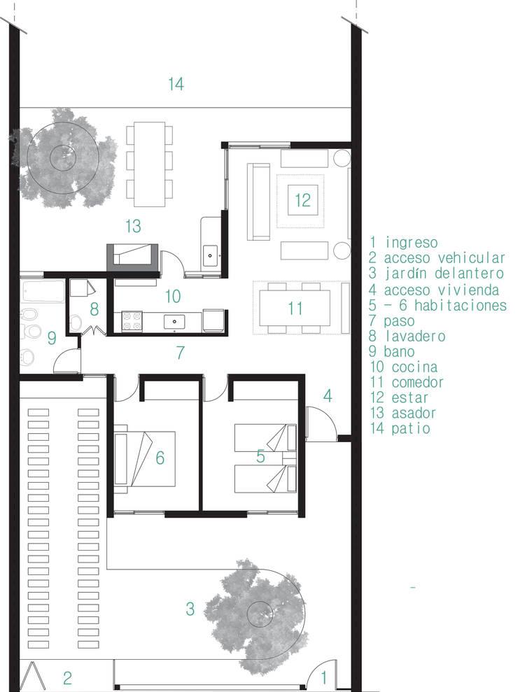 vivienda Pro.Cre.Ar modelo <q>America 2 dormitorios</q> (Modificada): Casas de estilo  por JUNE arquitectos,