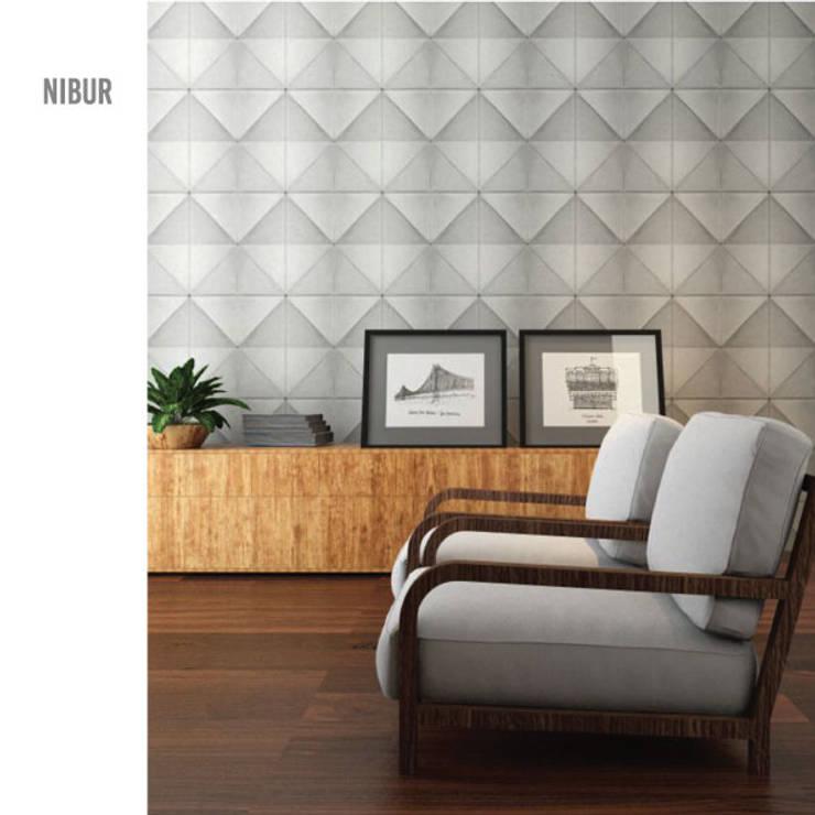 Nibur: Salas de estar minimalistas por MAGEN | Revestimentos Cimentícios