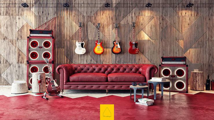 Penintdesign İç Mimarlık  – Gibson Guitarist Room / In Memory of Gary Moore:  tarz Çalışma Odası, Endüstriyel