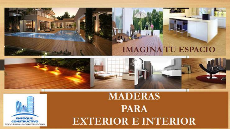 PISOS DE MADERA PARA EXTERIOR E INTERIOR.: Paredes y pisos de estilo  por ENFOQUE CONSTRUCTIVO