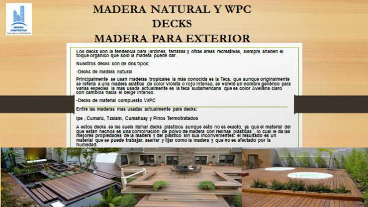 MADERA NATURAL Y WPC: Paredes y pisos de estilo  por ENFOQUE CONSTRUCTIVO
