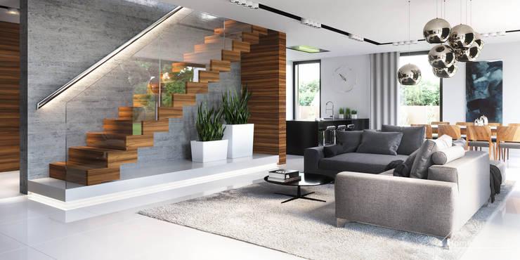 Livings de estilo  por HomeKONCEPT | Projekty Domów Nowoczesnych