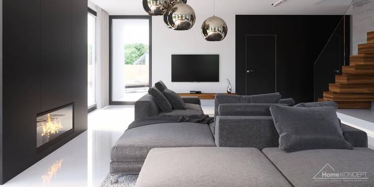 Salas de estilo moderno por HomeKONCEPT | Projekty Domów Nowoczesnych
