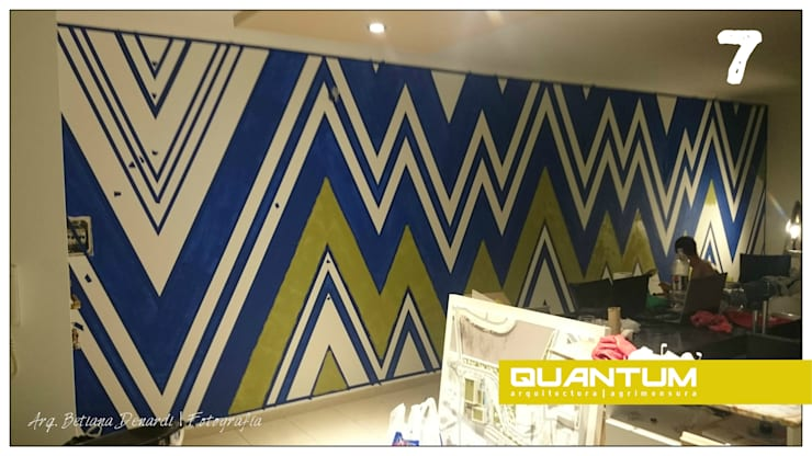 7. Segundo color en muro.: Livings de estilo  por Betiana Denardi | Arquitecta