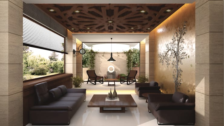 Drawing Room:  Living room by Chaukor Studio