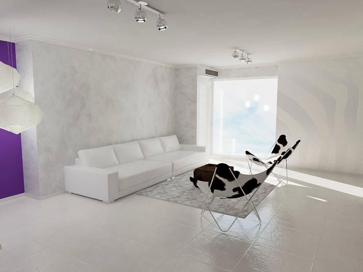 Diseño 3D de Salón Residencial: Salas / recibidores de estilo  por Simon Lopez Diseños 3D