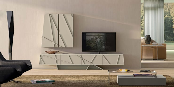 Moveis de TV modernos Modern TV furniture  www.intense-mobiliario.com  ROBBIN http://intense-mobiliario.com/pt/bases-tv/3681-base-tv-robbin.html: Sala de estar  por Intense mobiliário e interiores;