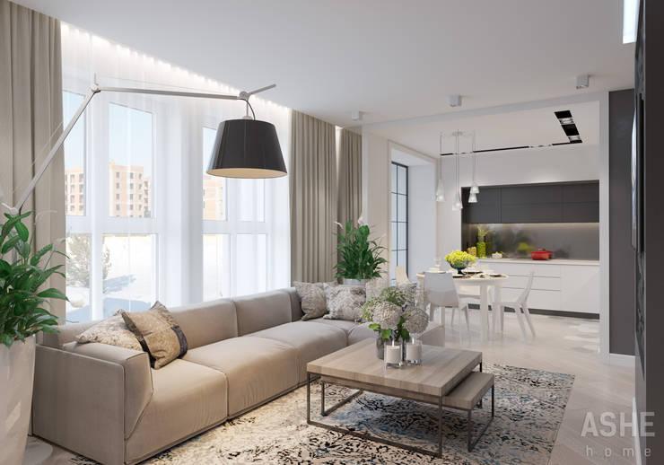 غرفة المعيشة تنفيذ Студия авторского дизайна ASHE Home