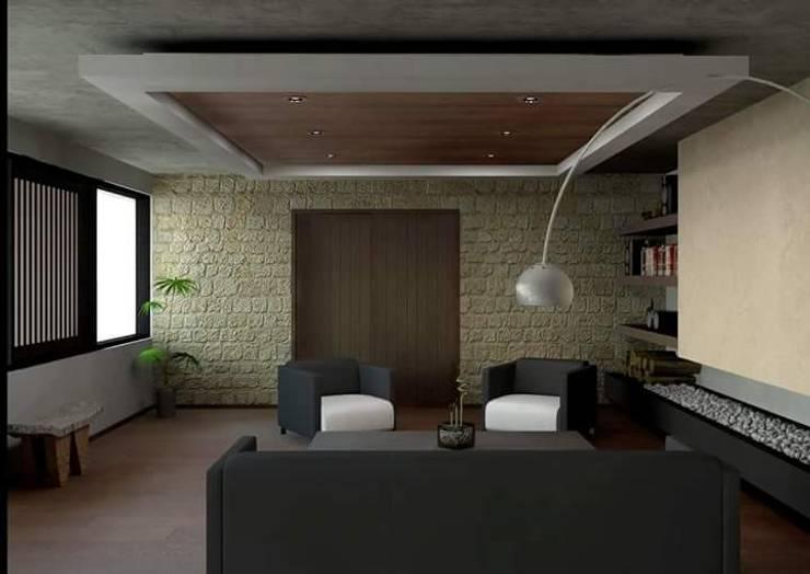 Residencia en el Lago: Salas de estilo  por Arq. Rodrigo Culebro Sánchez