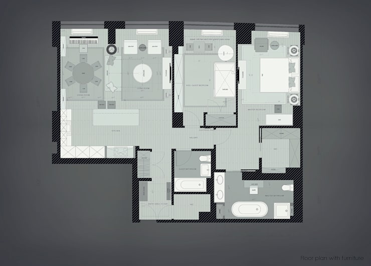 2 bedroom apartment. New York: Окна в . Автор – KAPRANDESIGN