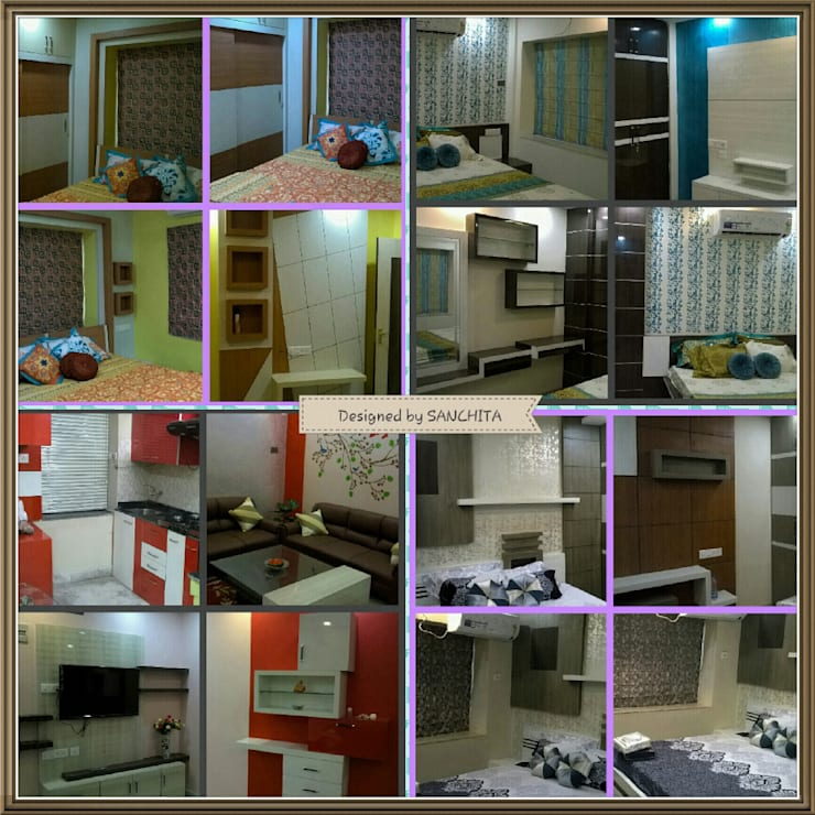 Collage of the whole project:  Walls & flooring by Elegant Dwelling