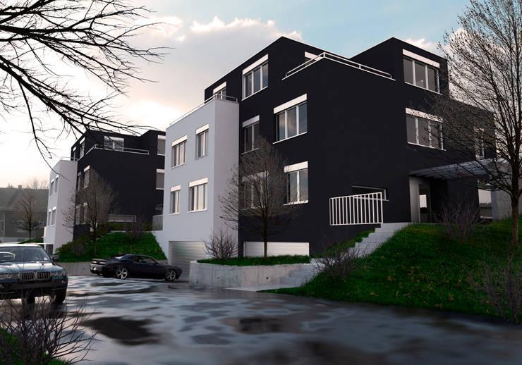 VISUALIZACION DE DEPARTAMENTOS FAMILIARES EN SUIZA:  de estilo  por RJ Arquitectos