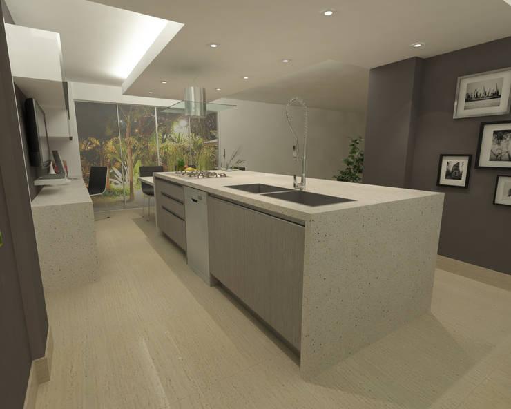 Cocina en Quinta EPE: Cocinas de estilo  por OPFA Diseños y Arquitectura