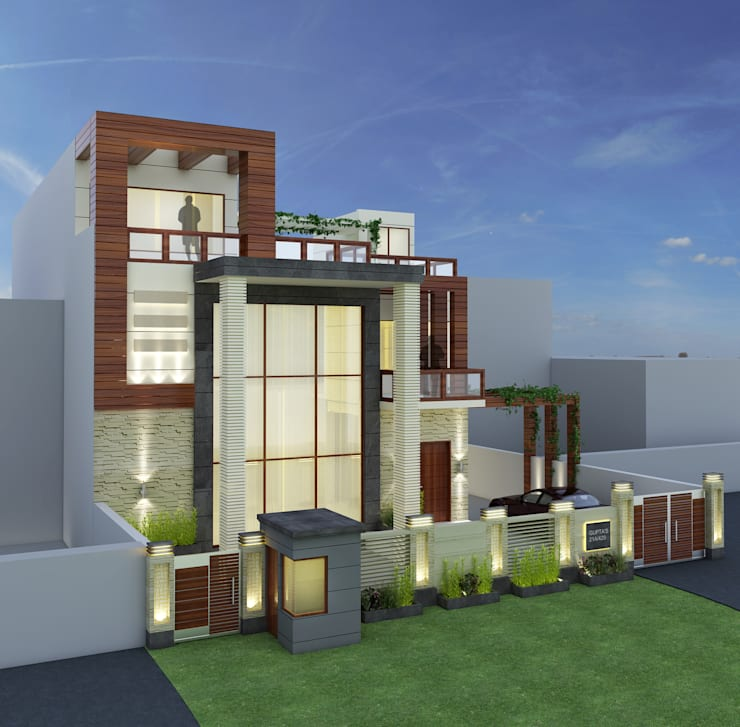 3d view 1:  Houses by The Brick Studio ,Asian
