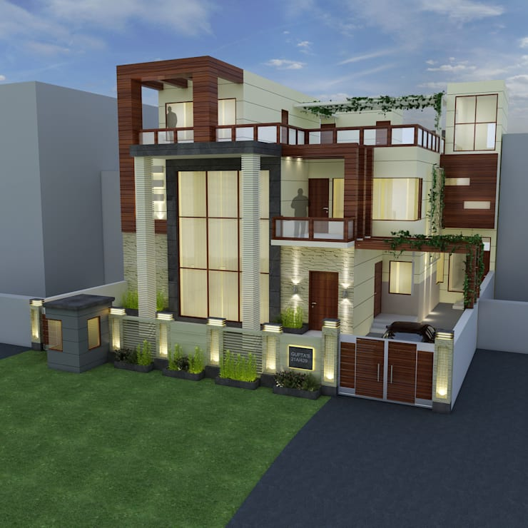 3d View 2:  Houses by The Brick Studio ,Asian