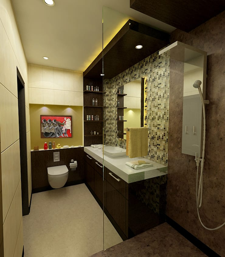 Greater Kailash Residence :  Bathroom by The Brick Studio ,Modern